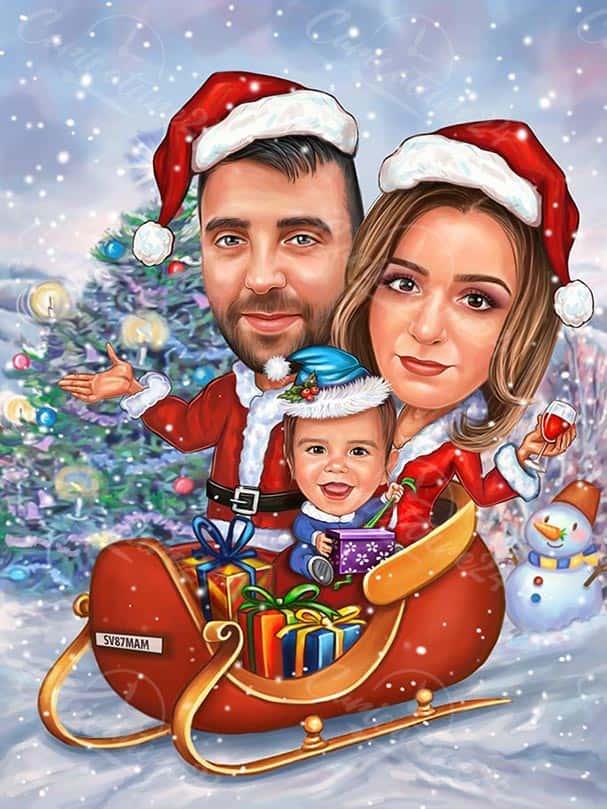 Коледна карикатура с дете