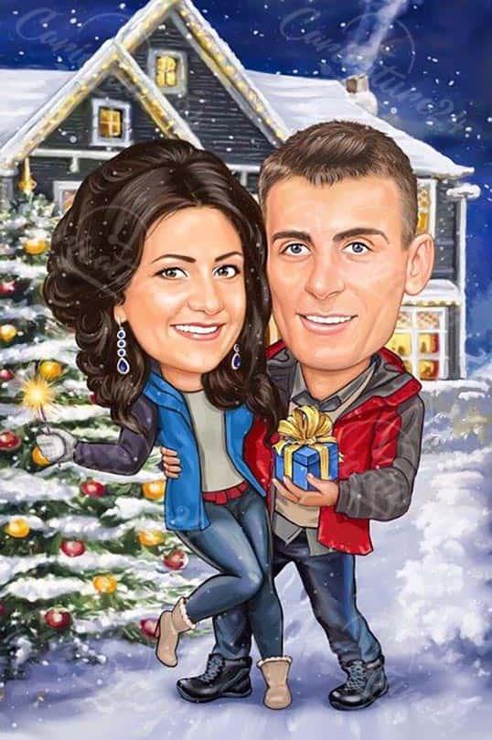 Коледна карикатура за двойка с елха