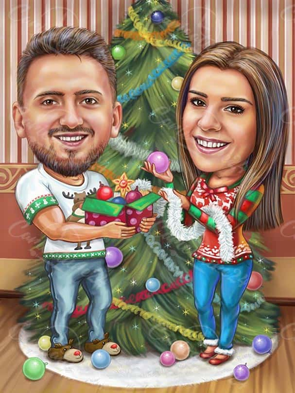 Коледна карикатура за влюбени