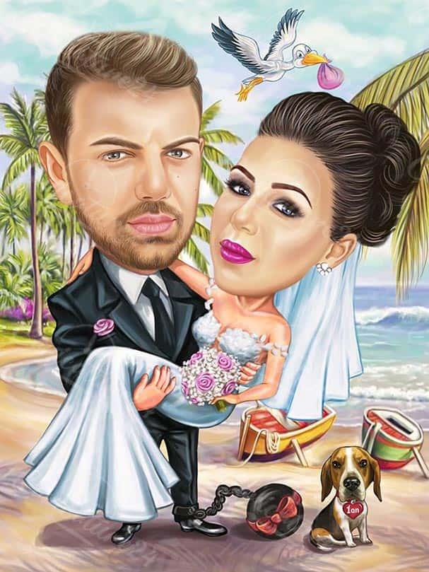 Плажна сватбена карикатура с щъркел