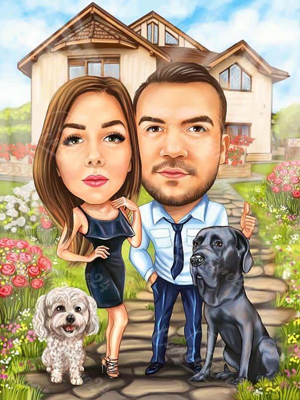 Семейна двойка с кучета