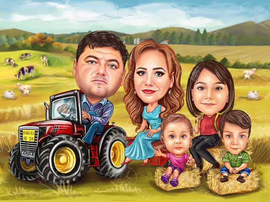 Семейна фермерска карикатура