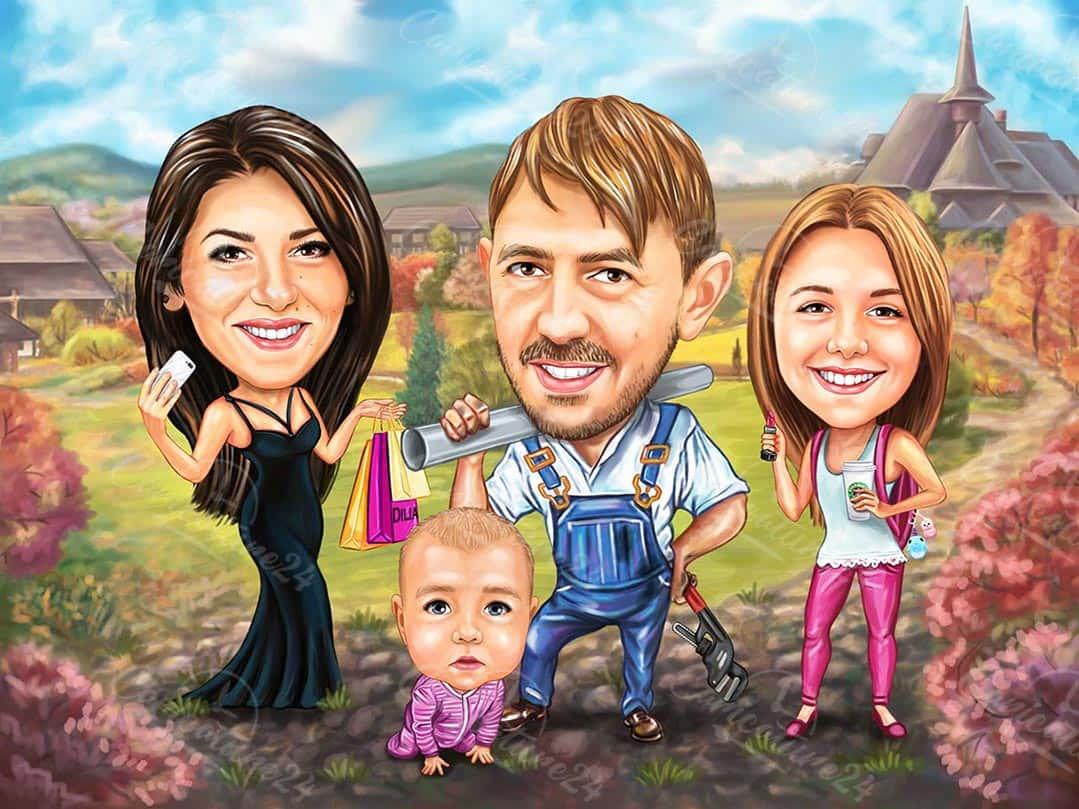 Семейна карикатура архитект