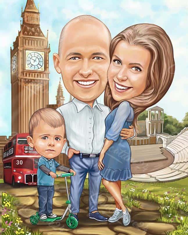 Семейна карикатура Биг Бен