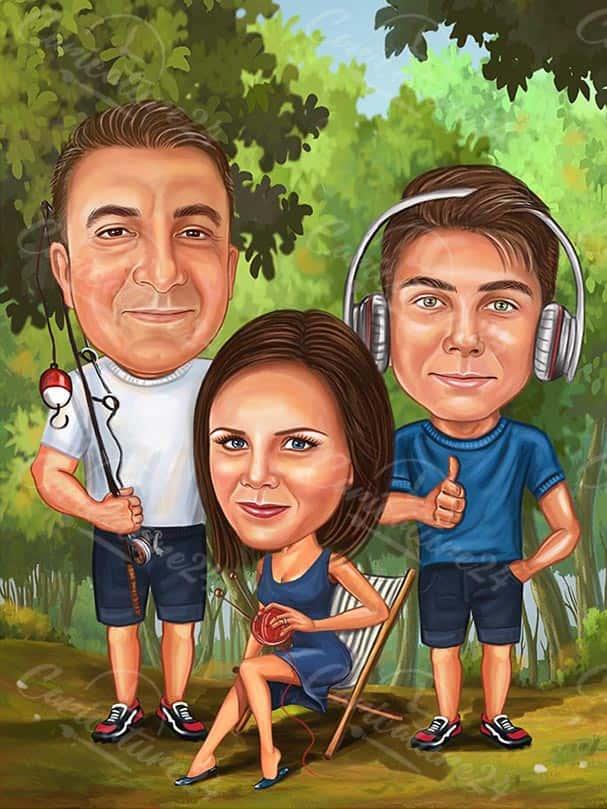 Семейна карикатура рибар