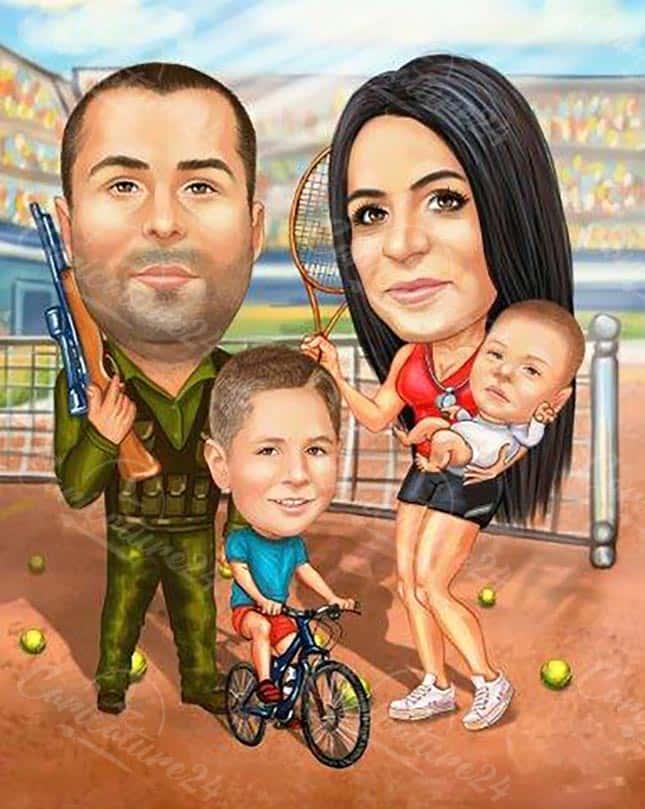 Семейна карикатура с дете и бебе