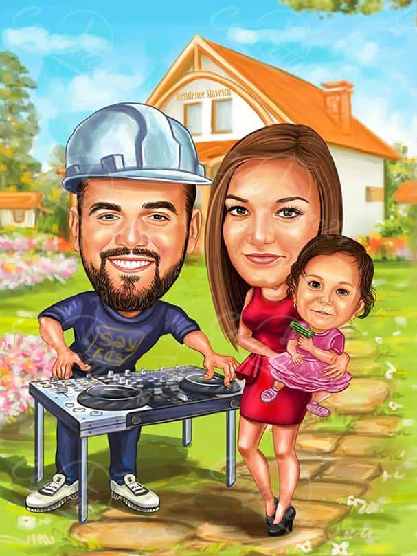 Семейна карикатура с хоби DJ