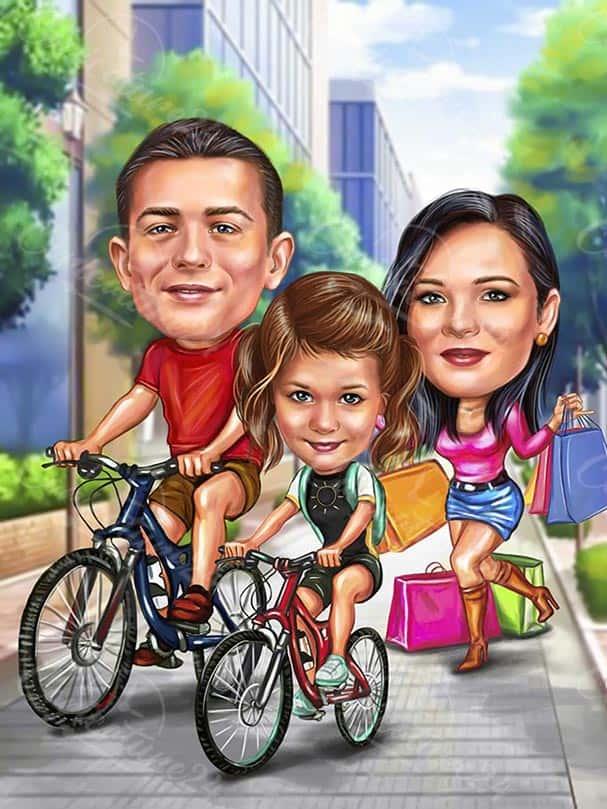 Семейна карикатура с велосипеди