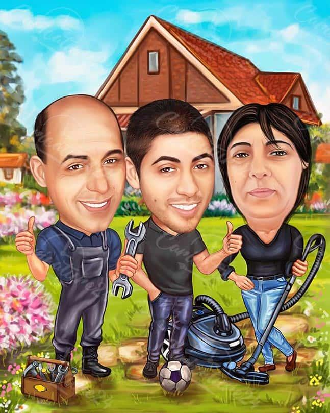 Семейна карикатура с водопроводчик