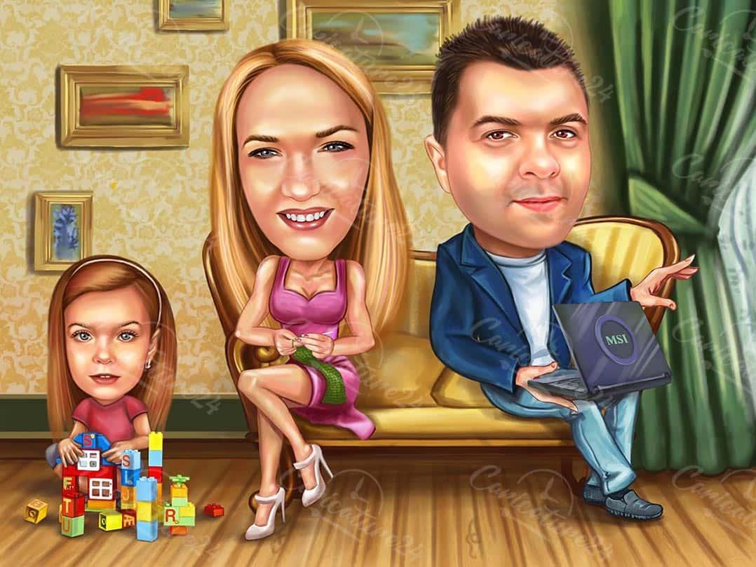 Семейна карикатура за програмист
