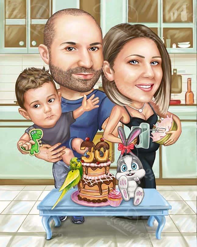 Семейна Карикатура за Рожден Ден