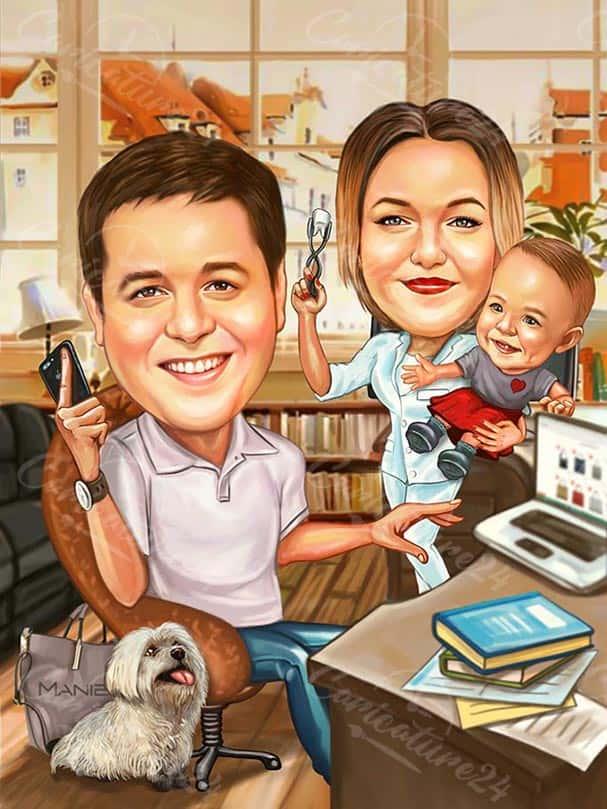 Семейна карикатура зъболекар