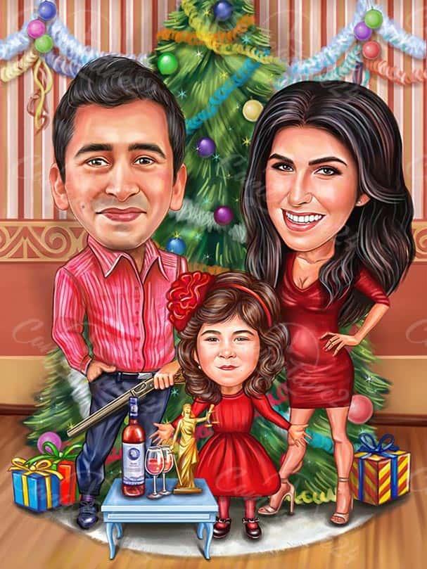 Семейна Коледна карикатура