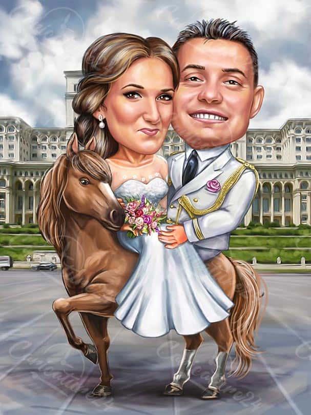 Сватбена карикатура на кон