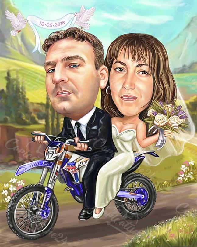 Сватбена карикатура на мотор