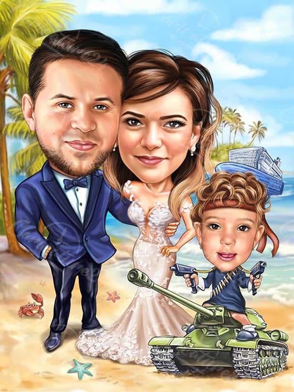 Сватбена карикатура на плажа