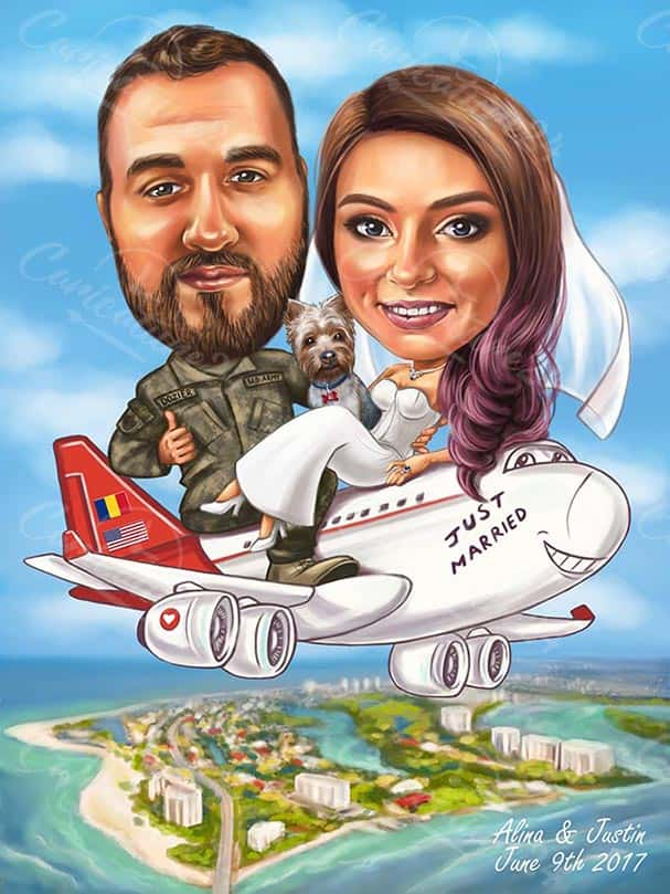 Сватбена карикатура на самолет