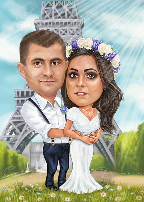 Сватбена карикатура Париж