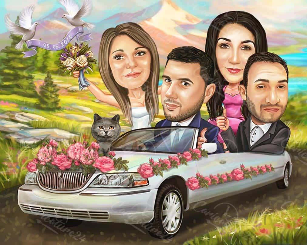 Сватбена карикатура с кумове и кола