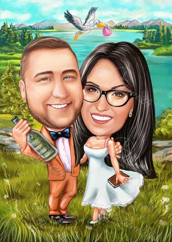 Сватбена карикатура с щъркел