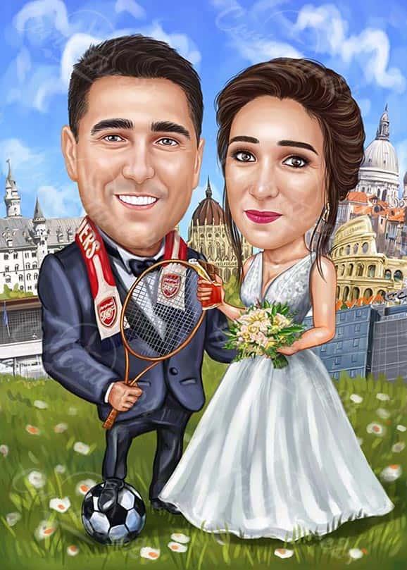 Тенис сватбена карикатура