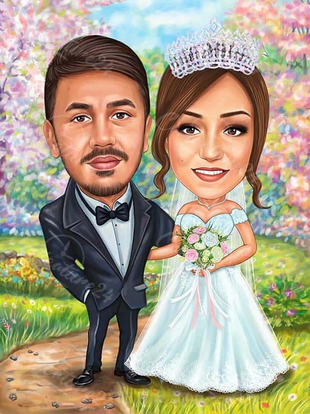 Уникална сватбена карикатура