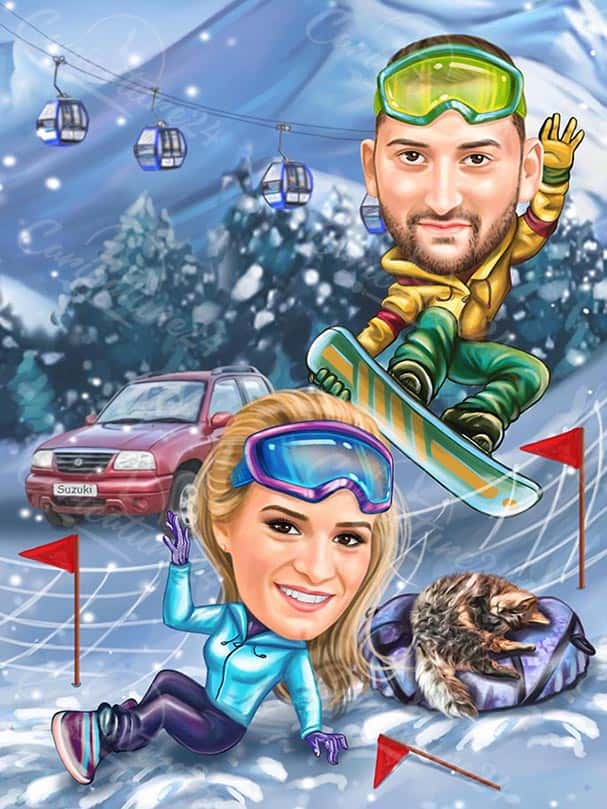 Зимна ски карикатура