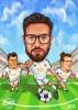 Футболна карикатура с 3 лица