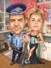 Карикатура 25 годишнина с полицай
