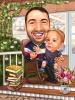 Карикатура баща и дете