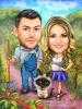 Карикатура фермери с коте