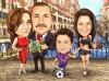 Карикатура футбол и тенис