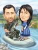 Карикатура мъж и жена на риба