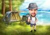 Карикатура мъж с палатка