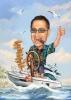 Карикатура мъж с пура на лодка