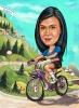 Карикатура на дама с колело