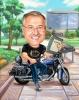 Карикатура учител с мотор