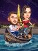 Карикатура влюбени на лодка