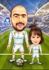 Карикатура за баща и дъщеря футболисти