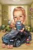 Карикатура за бебе с кола