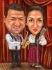 Карикатура за двойка музиканти на сцена