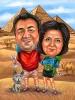 Карикатура за двойка пред пирамида