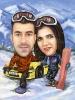 Карикатура за двойка сноубордисти с кола