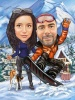 Карикатура за двойка сноубордисти с куче