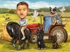 Карикатура за фермер на кон