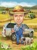 Карикатура за фермер с куче