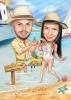 Карикатура за годеж на плажа