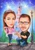 Карикатура за годеж с приказен мотив