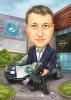 Карикатура за колега с кола