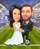 Карикатура за младоженци на стадион
